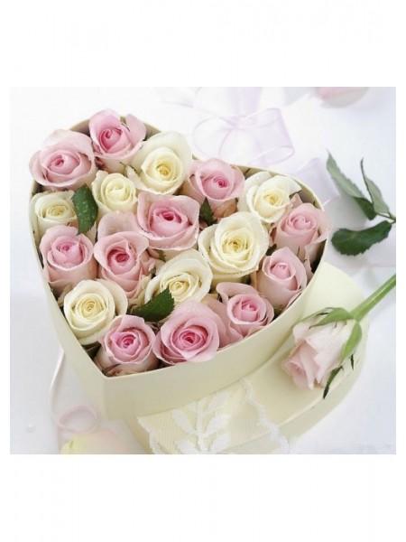 Коробочка с 19 розами