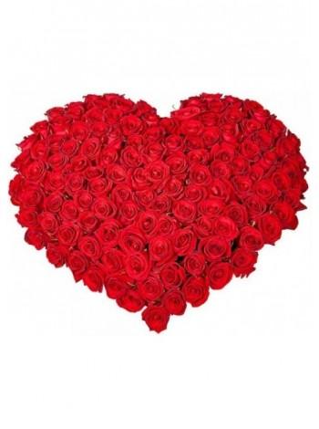 Сердце из 125 роз