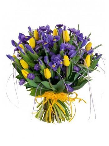 Букет из 15 тюльпанов и ирисов